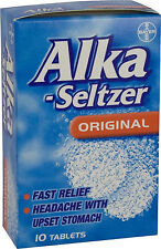 Alka-Seltzer Original 10 Tablets- Pain Relief for Migraine,Toothache,Cold & Flu