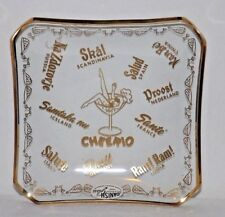 4 DANISH GLASS DENMARK BY SVEND JENSEN CRYSTAL BAR MONEY LABELED DISH GOLD TRIM