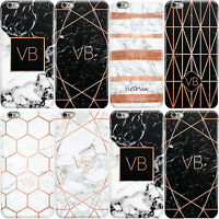 DYEFOR ROSE GOLD GEOMETRIC MARBLE WITH INITIALS HARD CASE COVER FOR APPLE IPHONE
