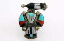 Zuni Lucy Ceshu Magpie Silver Turquoise Coral Inlay Bird Ring Sz 7-1/2 Vintage