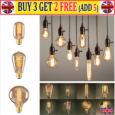 Filament Vintage Amber Glass Retro Light Bulb E27 /40W Screw Edison Globe AT-