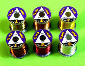 UTC Fly Tying WIRE Small 6 Spools  Lot  Colors Brassies Copper John Nymphs