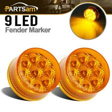 "TWO (2) Amber LED 2"" ROUND CLEARANCE, SIDE MARKER LIGHTS,Waterproof"