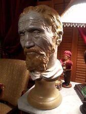 """Large Bust of Michaelangelo Vintage Statue Home Decor Sculpture 20"""""""