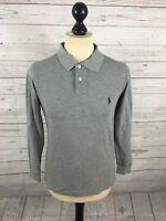 RALPH LAUREN Long Sleeve Polo Shirt - Small - Grey - Great Condition - Men's