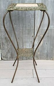 Antique Victorian Gold Gilt Iron & Travertine Marble Plant Stand Table 1880