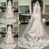 White Ivory Cathedral Wedding Bridal Veils Lace Applique Edge Veil With Comb 3M^