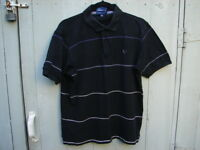 Fred Perry Mens Polo Shirt Black w White Purple Stripes Medium M 100% Cotton