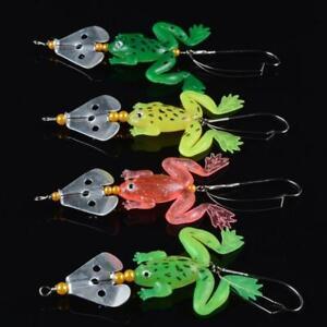 4PCS Frog Wobbler Soft Bait Jigs Fishing Lures 9cm Artificial Crankbait Minnow
