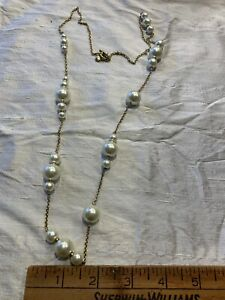 J. Crew Pearl And Chain Gold Tone Necklace Long Or Short JV-15