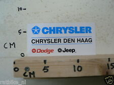 STICKER,DECAL CHRYSLER CHRYSLER DEN HAAG DODGE JEEP CAR AUTO
