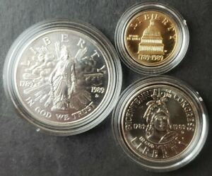 1989 United States Congressional Three-Coin Uncirculated Set