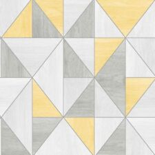 Fine Decor Apex Yellow and Grey Triangles Wallpaper  Wood Grain Effect FD42223
