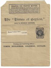 Stationery CEYLON: QV 2c Times Of Ceylon wrapper used