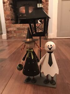 Halloween Metal Ornament Tea Light Candle Holder Ghost Cute Vintage