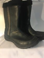 Helly Hansen Boots Womens 7 Black Fur Lined Grip Leather Floral Geometric Winter