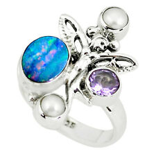 Natural Doublet Opal Australian 925 Silver Angel Wings Fairy Ring Size 8 P60300