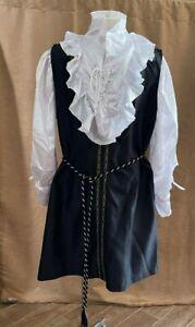 L Men Pirate Medieval costume tunic shirt women XL adult unisex outfit black