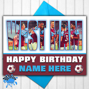 West Ham United Personalised Birthday Card Any Name or Relative Age