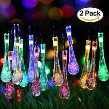 2 Pack Solar Strings 20ft 30 LED Water Drop Solar Fairy Lights Rain Drop USA