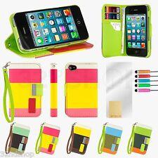 De pie Billetera Cuero Estuche Cubierta para Apple iPhone 5/5S protector de pantalla
