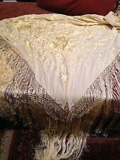 Hand Embroidered Antique Vintage Rose Cream Silk Fringed Pianno Wrap Shawl