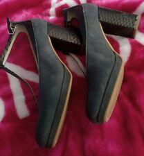 Clarks Court Shoes Grey  MIST  Suede Crocodile Effect Block Heel Smart