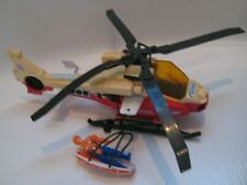 Vtg Tonka Fire SEARCH & RESCUE Helicopter Power Winch Raft Figure Sounds Lights