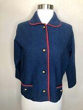 Vintage Saks Fifth Avenue women's Wool Blue Red Gold Sweater Cardigan Jacket