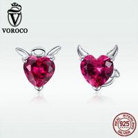 Voroco Devil Angel 925 Sterling Silver Stud Earrings Fashion Red Gem New Jewelry