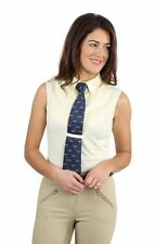 Shires Ladies Tie Shirt Sleeveless Riding Show Shirt Showing, Yellow, White