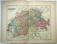 Original 1895 Map of Switzerland by  W & A.K. Johnston. Antique
