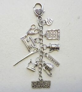 Scissors Keeper I love Quilting Ruler Needle Sew Machine Key holder Bag Charm