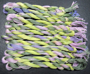 12xNeedlepoint/Embroidery THREAD Hand-dyed Cotton 6 ply Floss-Lavender field-TX3