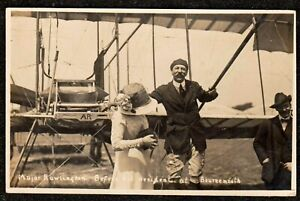 1910 BOURNEMOUTH AVIATION MEETING MAJOR RAWLINGSON ACCIDENT REAL PHOTO POSTCARD