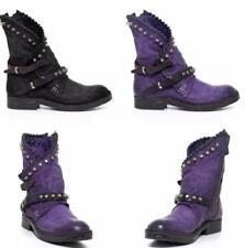 Retro Women Ankle Boots Rivet Stud Steampunk Buckle Belt Shoes Pu Leather