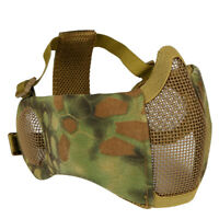 Tactical CS Airsoft Half Face Metal Mesh Net Mask With Ear Protection Camouflage