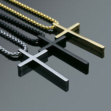 Men's Fashion Jewelry Plain Charm Gold Black Silver Cross Pendant Chain Necklace