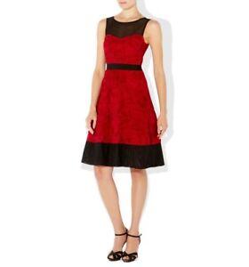 HOBBS ROSEANNA UK 10 BLACK & RED CHIFFON FLORAL ROSE FIT N FLARE DRESS RRP 299