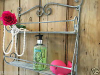 Shabby Chic Wall Shelf Unit French Vintage Metal Storage Cabinet Display Shelves