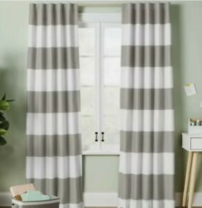 """Pillowfort Blackout Curtains Gray White Stripe Childs Play Room 84"""" X 42"""" NEW"""