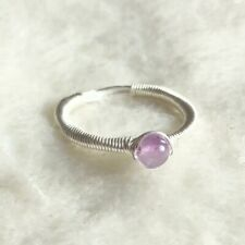 Amethyst Sterling Silver Wire Wrap SimpleRing Birthstone Gemstone Size Q