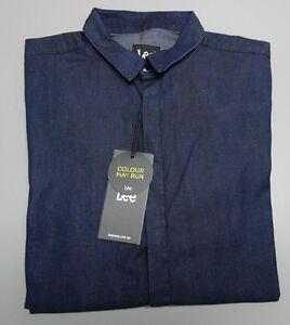 NEW LEE Jeans Medium Indigo Blue Long Sleeve Shirt RRP $119.95