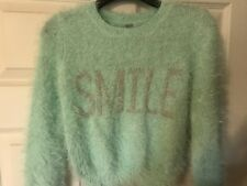 NWT Route 66 Girls Sweater Smile Green Fuzzy Soft Size XS 4/5