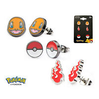 OFFICIAL POKEMON CHARMANDER FACE, FLAME AND POKEBALL SET OF 3 STUD EARRINGS