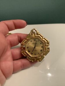 Vintage Supreme 17 Jewel Gold Tone Pendant Watch Necklace Works