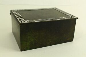 = Antique 1920's Silver Crest Box Patinated Bronze w. Silver Inlay Art Deco
