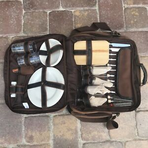 Vintage Canvas Picnic Camping Bag Kit Set For 4 People With Insulated Cooler