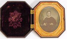 Atq 1800s Civil War Era Playing Chess Gutta Percha Case WOMAN Tin Type Photo