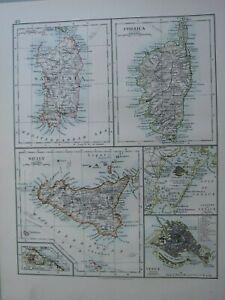 1913 MAP SARDINIA CORSICA SICILYVENICE LAGOONS CITY PLAN
